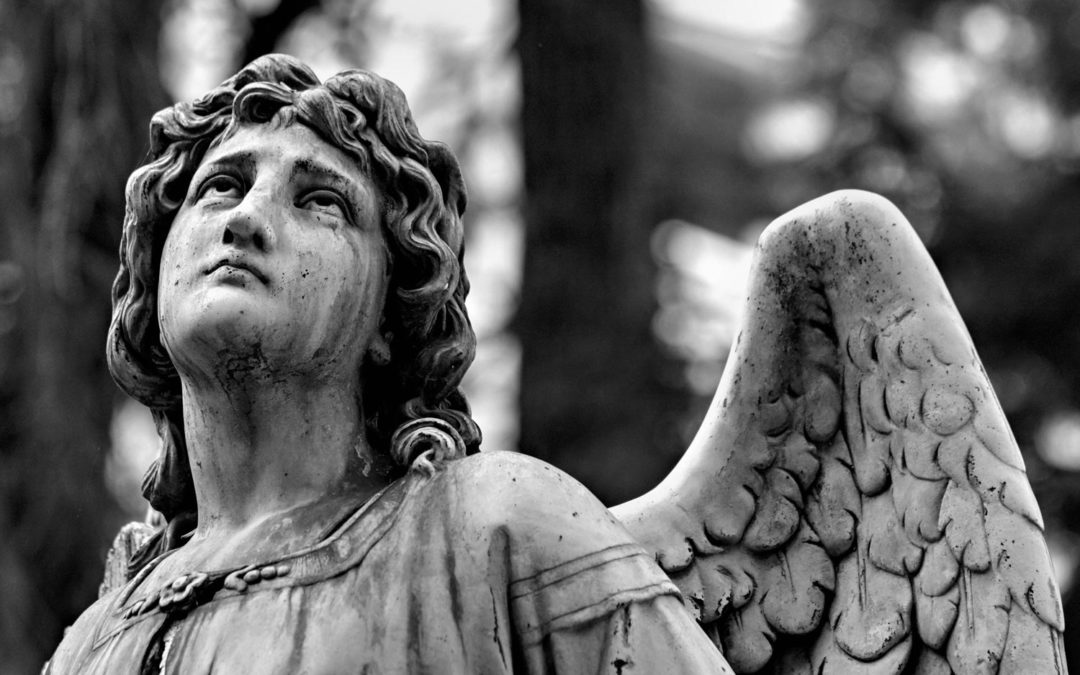 mourning angel statue